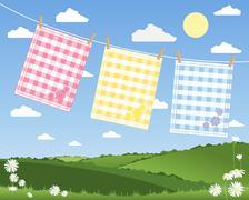 Gingham tea towels Stock Illustration
