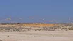 Wind turbines in desert Stock Footage