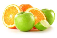 Composition with apples and oranges isolated on white Stock Photos