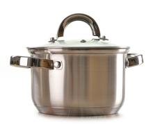 stainless pan isolated on a white background - stock photo