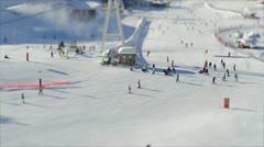 Ski Piste tilt shift - stock footage