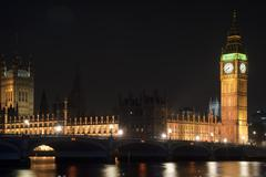 Houses of parliament, big ben and westminster bridge at night in london Stock Photos