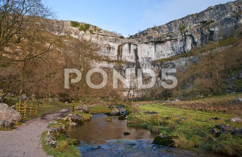 Stock photo of malham beck and malham cove in yorkshire dales national park