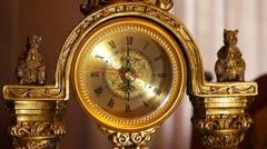 Antique clock  6:00 Stock Footage