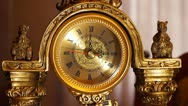 Antique clock  3:00 Stock Footage