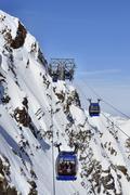 Gondola cable car in alps Stock Photos
