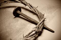 jesus christ crown of thorns and nail - stock photo