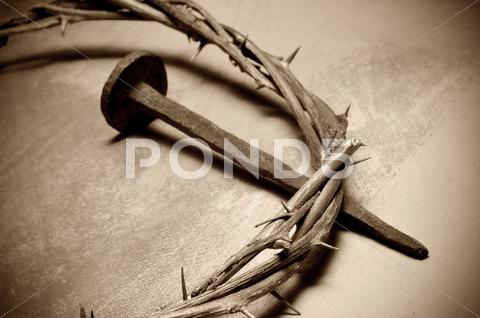 Stock photo of jesus christ crown of thorns and nail