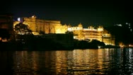 1920x1080 - city palace at night. india, rajasthan, udaipur. Stock Footage