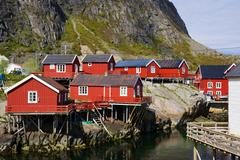 scenic fishing huts - stock photo