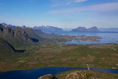 view from hilltop in norway - stock photo