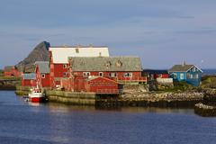 nordic fishing harbor - stock photo