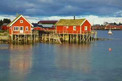 Stock Photo of norwegian fishing huts