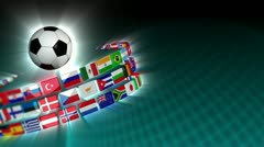 Soccer International Flags Sport Background 52 (HD) Stock Footage