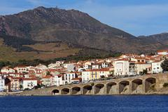 town of banyuls-sur-mer in the french mediterranean coast - stock photo