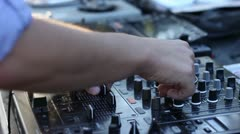Dj mixing and scratching outdoor Stock Footage