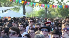Hypster crowd at music festival Stock Footage