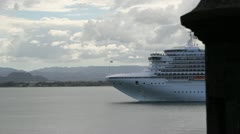 Cruise ship Grand Princess pulling into San Juan Puerto Rico Stock Footage