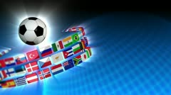 Soccer International Flags Sport Background 53 (HD) Stock Footage