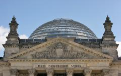 Reichstag detail with cupola Stock Photos
