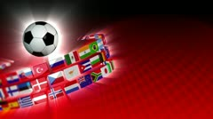 Soccer International Flags Sport Background 54 (HD) Stock Footage