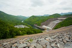 Hydro power electric dam Stock Photos