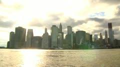 NY Skyline across river Time Lapse Stock Footage