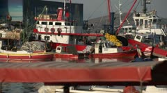 Kusadasi harbor fishing boats, tight frame Stock Footage
