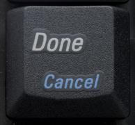 done cancel button on keyboard - stock photo