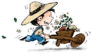 Smiling Boy Gardener Stock Illustration