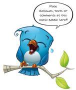 Blue Bird Laughing Piirros