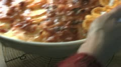 Potato Gratin Cools On Metal Rack - stock footage