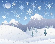 christmas snow scene - stock illustration
