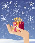 hand with christmas gift - stock illustration