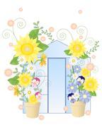 Summer greenhouse Stock Illustration