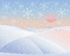 winter landscape with road - stock illustration