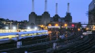 Stock Video Footage of Timelapse Trains wizz past an Iconic London landmark