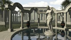 Ancient greek temple with Venus of Milo - stock footage