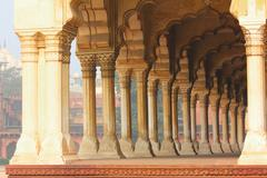 columns in palace - agra fort - stock photo