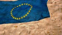 Old wall texture and eu flag Stock Footage