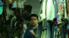 Walk in closet big clothing choose Stock Footage