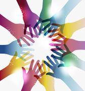 rainbow transparency hands circle - stock illustration