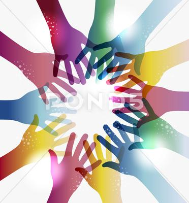 Stock Illustration of rainbow transparency hands circle