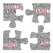 marketing  jigsaw piece communication. - stock illustration