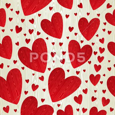 Stock Illustration of valentine wood heart pattern