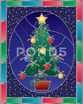 Stock Illustration of christmas stained glass