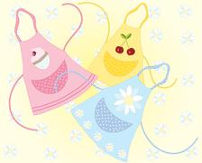 cookery aprons - stock illustration