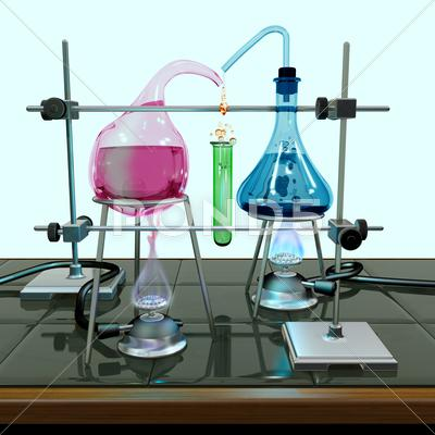 Stock Illustration of impossible chemistry experiment