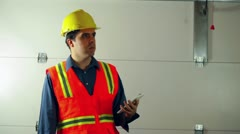 Construction guy directing ordering industry renovation Stock Footage
