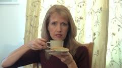 130130l woman dringing tea 2 Stock Footage